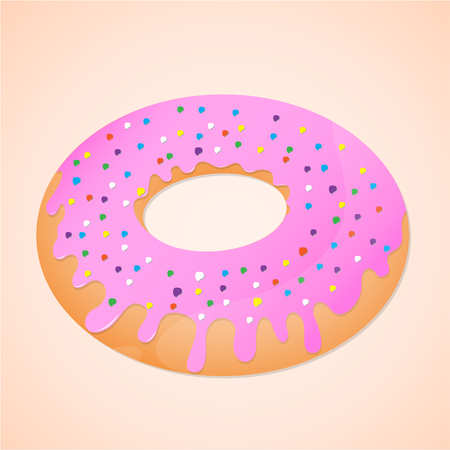 Donut is sweet food. Donut with pink topping cream colorfull and ring shaped.