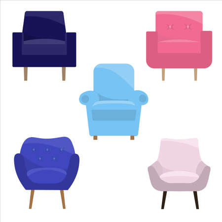 Set of different armchairs in flat style, vector illustration design template.