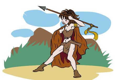 prehistoric age: hunter prehistoric woman