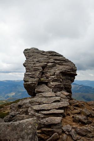Mountains landscape in dark day, big stones. Ukraine Stock Photo