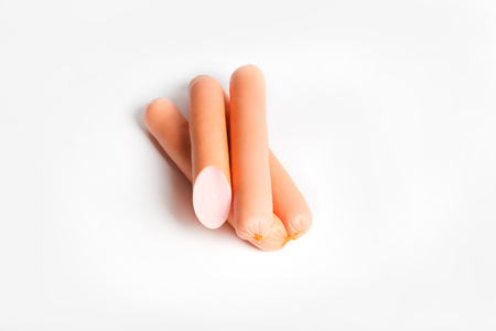 weenie: sausage isolated on white background close up