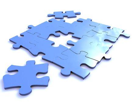blue puzzle isolated on white photo