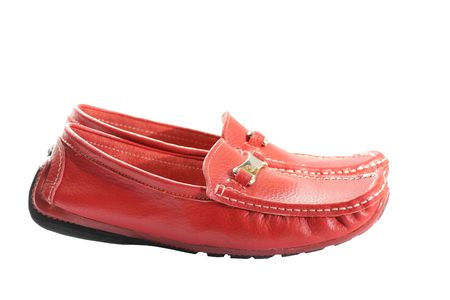 loafers: red feminine loafers isolated on white