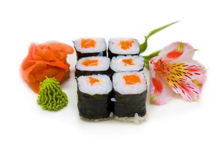 r�le: r�le de saumon sur fond blanc