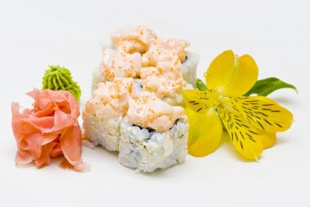 r�le: r�le avec fleur jaune sur fond blanc Banque d'images