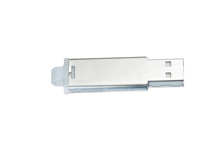 silver USB flash drive on white photo