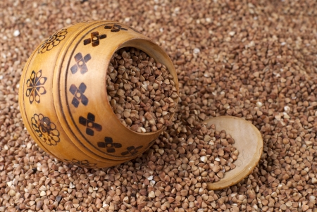kasha: buckwheat in wooden pot