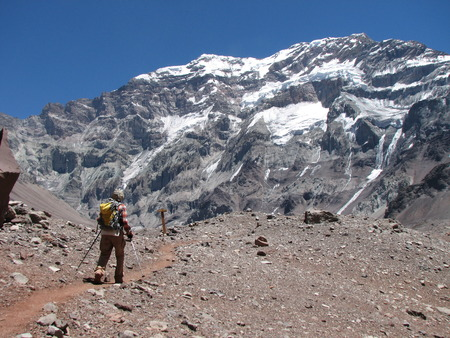 Hikers in the mountain, Andes, Argentina, South America photo