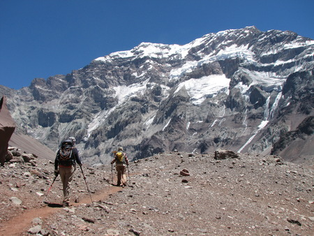 aconcagua: Hikers in the mountain, Andes, Argentina, South America Stock Photo