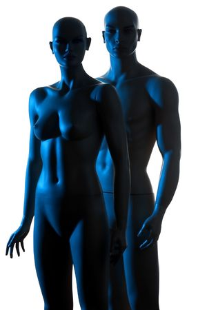 nudes: couple mannequin blue light on the white background Stock Photo