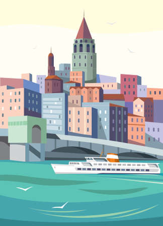 galata tower in istanbul vector art