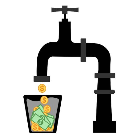Cash Flow Vector Illustration Concept Showing cash coin flowing from a water tap, Suitable for landing page, ui, web, App intro card, editorial, flyer, and banner. Flat vector illustration.