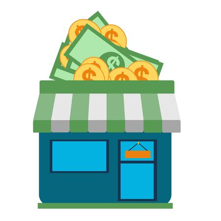 cute store shopping money dollar. Small store yielding gold coins. commerce icon design, vector illustration  graphic
