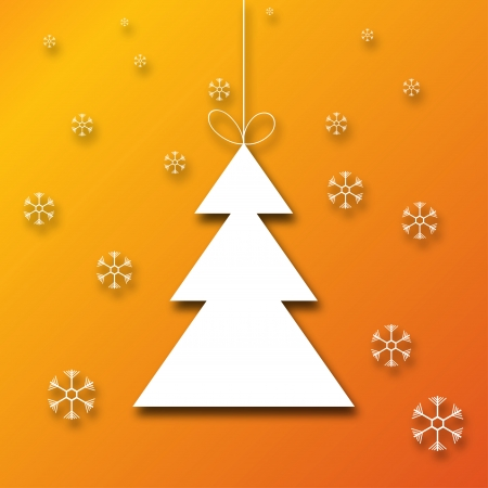 Christmas tree with snowflakes on orange background Vector