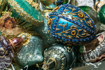 christmas blue: Christmas tree decorations, blue Faberge egg