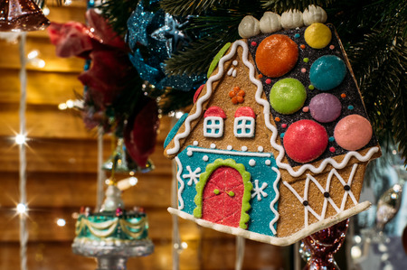 christmas house: Gingerbread house, Christmas tree decorations