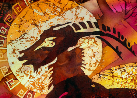 Capricorn, fragment, hot batik, handmade art, silk, background texture Stock Photo