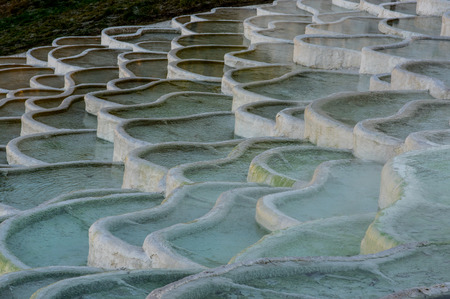 thermal spring: Thermal spring - mineral terrace (Hungary, Egerszalok) Stock Photo