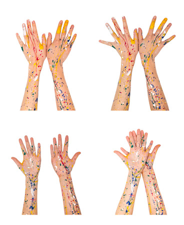handbreadth: Woman hands in paint make a different shapes isolated on white background