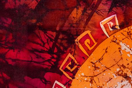 Ornament, hot batik, background orange and red texture, handmade on silk, abstract surrealism art Banco de Imagens