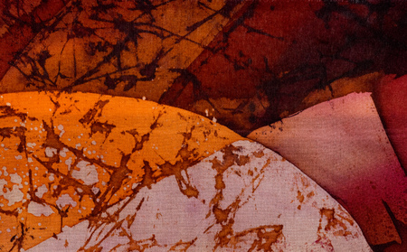 surrealism: Abstraction, hot batik, background orange and red texture, handmade on silk, abstract surrealism art