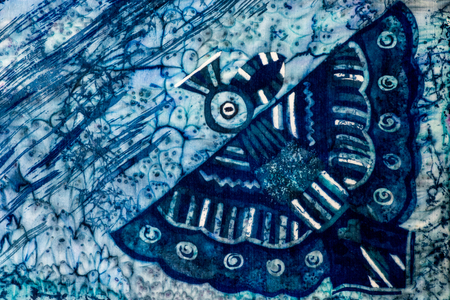 wingspan: Bird, turquoise and violet, hot batik, background texture, handmade on silk, abstract surrealism art