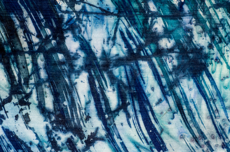 color drops: Abstraction, turquoise and violet, hot batik, background texture, handmade on silk, abstract surrealism art
