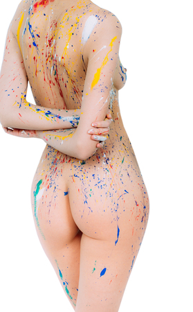 fastened: Colorful young woman back in paint with hands fastened behind isolated on white background