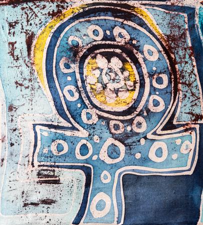 surrealism: Symbol of venus, hot batik, background texture, handmade on silk, surrealism art