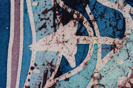 surrealism: Waves and arrows, hot batik, background texture, handmade on silk, abstract surrealism art Stock Photo