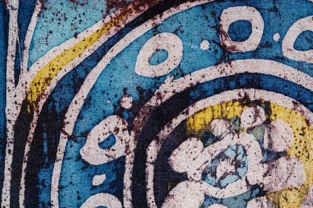 surrealism: Flower in circle, hot batik, background texture, handmade on silk, surrealism art