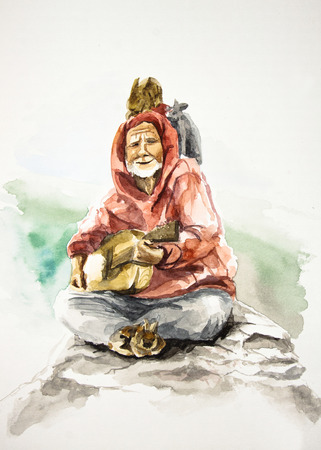 bard: Old smiling bard playing on guitar andsittng on mountain with rabbits, watercolor illustration