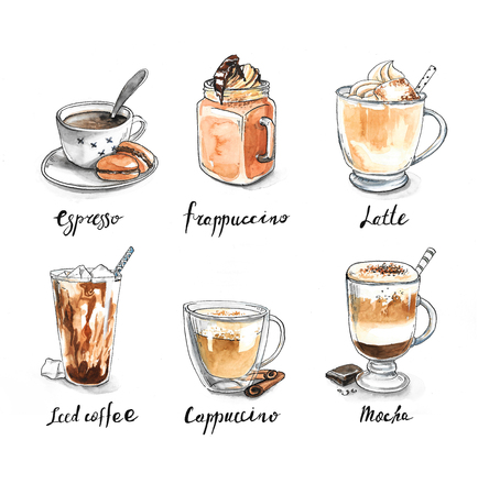 types of glasses: Collection of different coffee - espresso, frappuccino, latte, iced coffee, cappuccino, mocha  isolated on white background Stock Photo