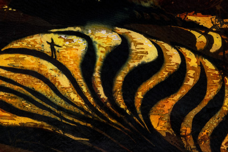 golden dusk: Man on rice terraces fragment, hot batik background texture, handmade on silk, abstract surrealism art