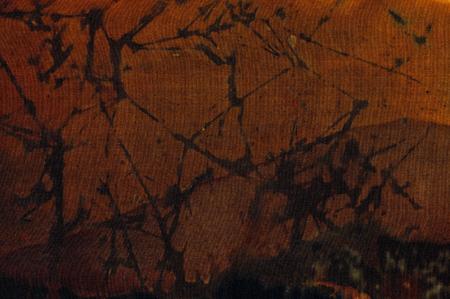 surrealism: Abstraction fragment, hot batik background texture, handmade on silk, abstract surrealism art Stock Photo