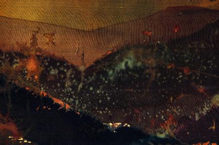 surrealism: Evening mountains fragment, hot batik background texture, handmade on silk, abstract surrealism art