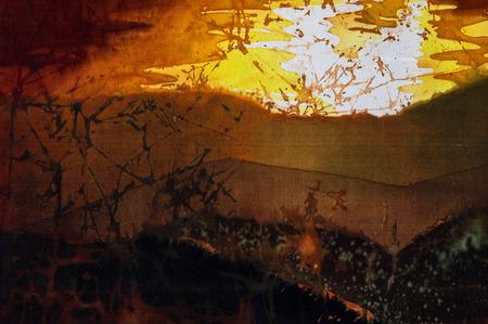 golden dusk: Evening mountains fragment, hot batik background texture, handmade on silk, abstract surrealism art