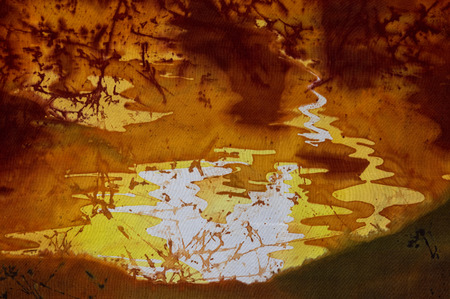 surrealism: Evening sky fragment, hot batik background texture, handmade on silk, abstract surrealism art