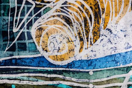 surrealism: Whirl, hot batik background texture, handmade on silk, abstract surrealism art Stock Photo