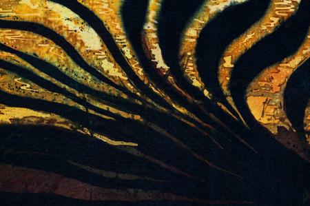 surrealism: Evening on rice terraces fragment, hot batik background texture, handmade on silk, abstract surrealism art Stock Photo