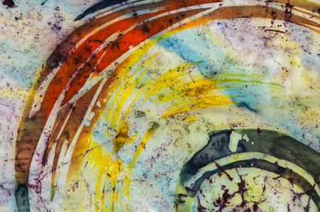 surrealism: Rainbow fragment, hot batik background texture, handmade on silk, abstract surrealism art Stock Photo