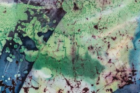 fragment: Abstraction fragment, hot batik background texture, handmade on silk, abstract surrealism art Stock Photo