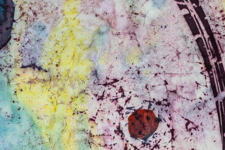 fragment: Abstraction fragment hot batik background texture, handmade on silk, abstract surrealism art Stock Photo