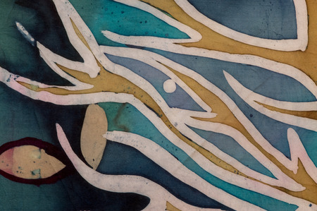 craquelure: Golden tree branches with leaves, turquoise, hot batik, background texture, handmade on silk, abstract surrealism art Stock Photo