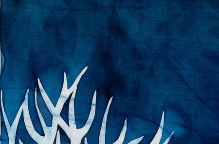 craquelure: Horns of deer, mystical tree, turquoise, hot batik, background texture, handmade on silk, abstract surrealism art