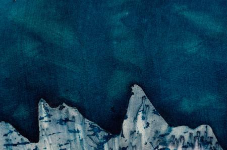 craquelure: Turquoise mystical mountains, hot batik, background texture, handmade on silk, abstract surrealism art