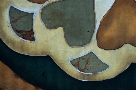 fragment: Hearts, fragment, hot batik, background texture, handmade on silk, abstract surrealism art Stock Photo