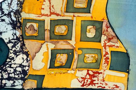fragment: Squares, fragment, hot batik, background texture, handmade on silk, abstract surrealism art