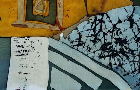 craquelure: Squares, fragment, hot batik, background texture, handmade on silk, abstract surrealism art