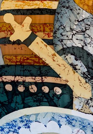 fragment: Sword, fragment, hot batik, background texture, handmade on silk, abstract surrealism art